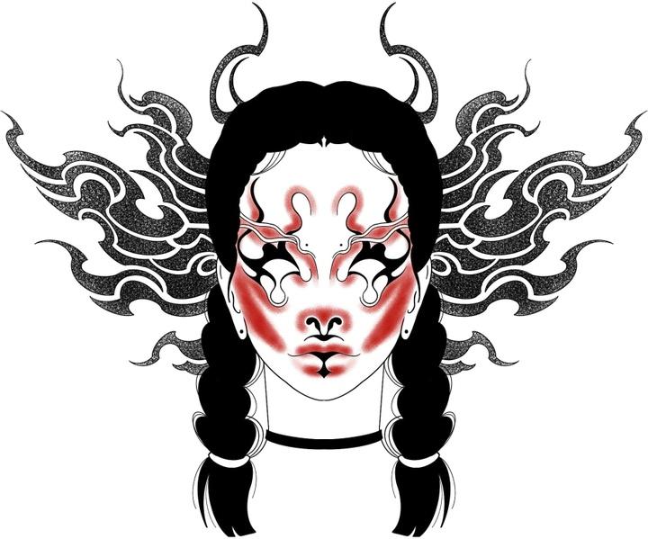 tattoo flash graphic woman